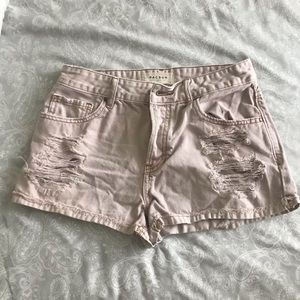 PacSun Pastel Pink Distressed Shorts